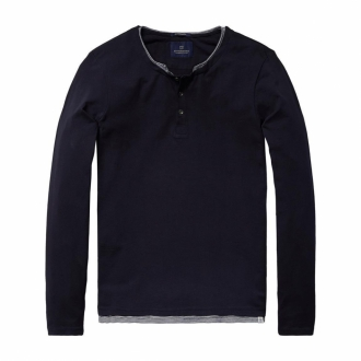 Scotch & Soda Doppellagiges Longsleeve Shirt dunkelblau