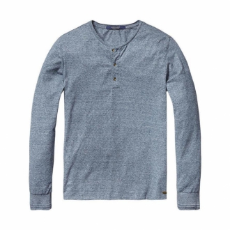 Scotch & Soda Lang�rmliges Baumwollshirt grau/blau