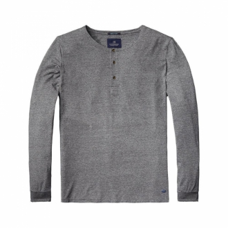 Scotch & Soda Lang�rmliges Granddad-T-Shirt grau