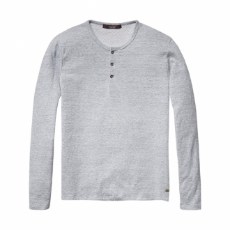 Scotch & Soda Langarmshirt in Knitteroptik grau